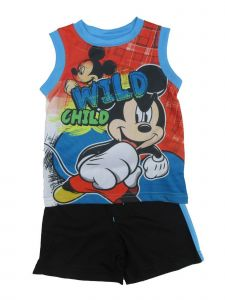 """Disney Baby Boys Black Blue Mickey Mouse """"Wild Child"""" 2 Pc Shorts Outfit 12-24M"""