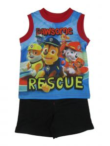 """Nickelodeon Baby Boys Black Blue """"Pawsome Rescue"""" 2 Pc Shorts Outfit 12-24M"""