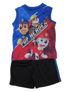 "Nickelodeon Little Boys Black Blue ""Pup Heroes"" Print 2 Pc Shorts Outfit 2T-7"