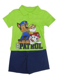 Nickelodeon Little Boys Green Paw Patrol Button Up Top 2 Pc Shorts Outfit 4-7