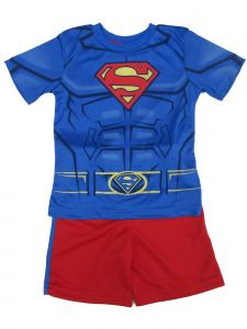 DC Comics Little Boys Royal Blue Red Superman Print 2 Pc Shorts Outfit 4-7