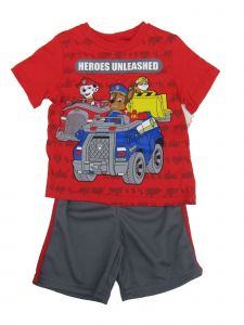 Nickelodeon Little Boys Red Paw Patrol Short Sleeve Top 2 Pc Shorts Outfit 4-7