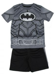 DC Comics Little Boys Gray Black Batman Short Sleeve Top 2 Pc Shorts Set 4-7