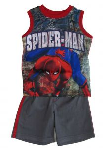Marvel Little Boys Gray Red Blue Spiderman Sleeveless 2 Pc Shorts Outfit 4-7