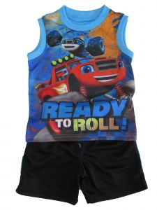 "Nickelodeon Little Boys Royal Blue Blaze ""Ready To Roll"" 2 Pc Shorts Outfit 2-4T"