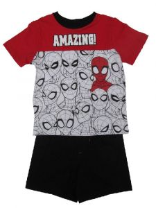 Marvel Little Boys White Red Spider Man Short Sleeve 2 Pc Outfit 2T-4T