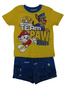 Nickelodeon Little Boys Yellow Blue Paw Patrol Short Sleeve 2 Pc Outfit 2T-4T