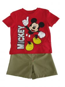 Disney Little Boys Khaki Red Mickey Mouse Print T-Shirt 2 Pc Shorts Set 2-4T