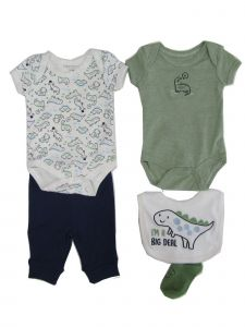 Weeplay Baby Boys Olive Green Dinosaur Bodysuit Pant Bib Socks 5 Pc Set 0-9M
