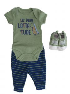 Weeplay Baby Boys Olive Green Navy Dinosaur Bodysuit Pants Shoes 3 Pc Set 0-9M