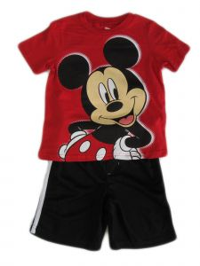 Disney Little Boys Red Black Mickey Mouse Mesh Short Sleeve Set 4-7