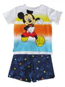 Disney Little Boys White Blue Mickey Mouse Short Sleeve French Terry Set 4-7
