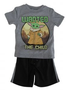 Disney Little Boys Grey Black Star Wars Baby Yoda Mesh Set 2-4T