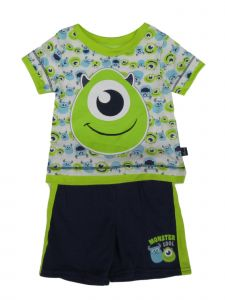 Disney Baby Boys Green Pixar Monsters Inc Short Sleeve Top Shorts Outfit 6-9M
