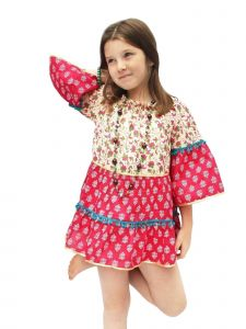 Azul Little Girls Red Boho Chic Pom-Pom Adorned Long Sleeved Dress 2T-7