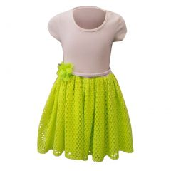 Big Girls Green Mesh Flower Skirt Short Sleeve Bodice Summer Dress 8-14