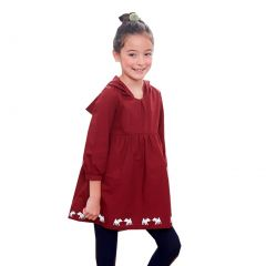 Little Girls Red Contrast Animal Print Dropped Shoulders Hooded Dress 1-6Y