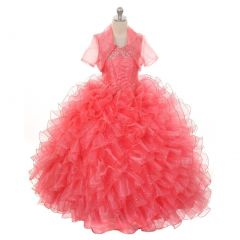Rain Kids Big Girls Coral Sequin Sparkly Ruffle Bolero Pageant Dress 8-14