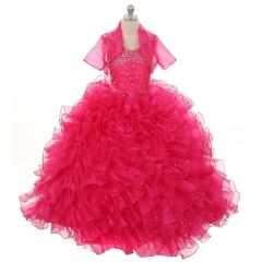 Rain Kids Big Girls Fuchsia Sequin Sparkly Ruffle Bolero Pageant Dress 8-14