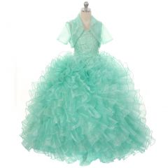 Rain Kids Big Girls Mint Sequin Sparkly Ruffle Bolero Pageant Dress 8-14