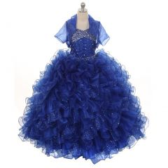 Rain Kids Big Girls Royal Blue Sequin Sparkly Ruffle Bolero Pageant Dress 8-14