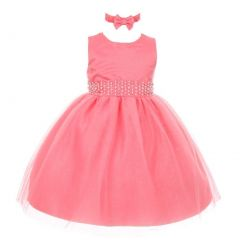 RainKids Baby Girls Coral Pearl Diamond Accent Tulle Flower Girl Dress 6-24M