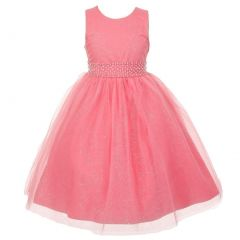 The Rain Kids Little Girls Coral Sparkly Tulle Pearls Occasion Dress 2-6