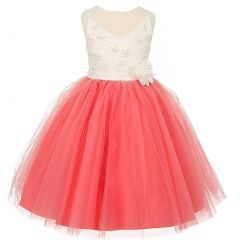 Rain Kids Big Girls Coral Ivory Beaded Lace V-neck Special Occasion Dress 8-12