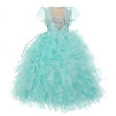 RainKids Big Girls Aqua Heart Shape Beaded Organza Jacket Pageant Dress 8-12