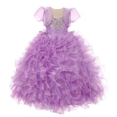 RainKids Little Girls Lilac Heart Shape Beaded Organza Jacket Pageant Dress 4-6