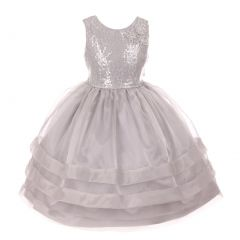 RainKids Little Girls Silver Sequin Lace Organza Overlaid Flower Girl Dress 2-6