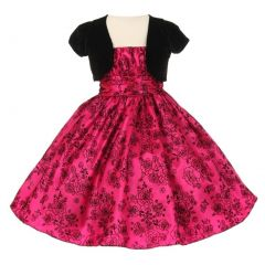 Little Girls Fuchsia Black Taffeta Velvet Flocked Bolero Christmas Dress 4-6