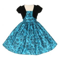 Big Girls Turquoise Black Taffeta Velvet Flocked Bolero Christmas Dress 8-14