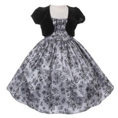 Big Girls Silver Black Taffeta Velvet Flocked Bolero Christmas Dress 8-14
