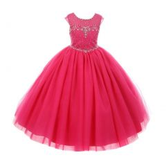 Rain Kids Big Girls Fuchsia Sequin Rhinestone Tulle Pageant Dress 8-12