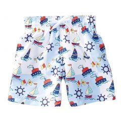 Azul Little Boys Light Blue Out To Sea Ship Print Drawstring Swim Shorts 2-6