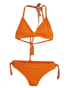 Big Girls Orange Halter Neck Triangle Bikini 2 Pc Swimsuit 7-16