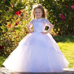 Triumph Dress Girls White Pink Lace Applique Tulle Nika Ball Flower Girl Dress 4-8