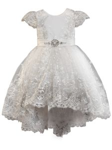 Girls Multi Color Hi Low Stunning Lace Communion Junior Bridesmaid Dress 2-10