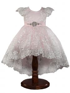 Big Girls Pink Hi Low Stunning Lace Crystal Brooch Junior Bridesmaid Dress 10