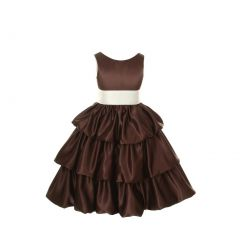 Cinderella Couture Girls Brown Layered Bow Sash Pick Up Occasion Dress 8-14