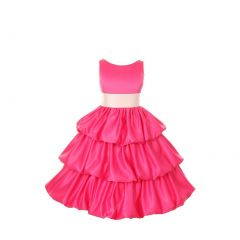 Cinderella Couture Girls Fuchsia Layered Bow Sash Pick Up Occasion Dress 8-14