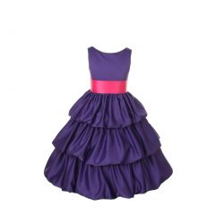 Cinderella Couture Girls Purple Layered Bow Pick Up Sash Occasion Dress 2-6