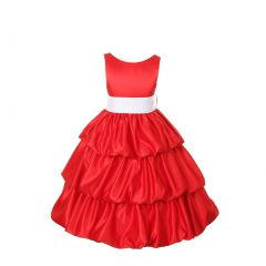 Cinderella Couture Girls Red Layered Bow Sash Pick Up Occasion Dress 2-6