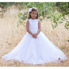 Girls White Lace Crystals Tulle Charlith Ball Flower Girl Dress 6-8