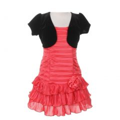 Big Girls Coral Black Pleated Tiered Velveteen Bolero 2 Pc Dress Outfit 8-14