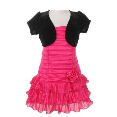 Little Girls Fuchsia Black Pleated Tiered Velveteen Bolero 2 Pc Dress Outfit 2-6