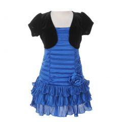 Little Girls Azure Black Pleated Tiered Velveteen Bolero 2 Pc Dress Outfit 2-6