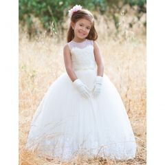 Girls Ivory Illusion Lace Tulle Crystals Jamal Ball Flower Girl Dress 2-12