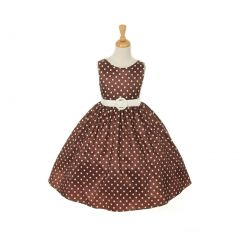 Cinderella Couture Big Girls Brown White Polka Dot Belted Occasion Dress 8